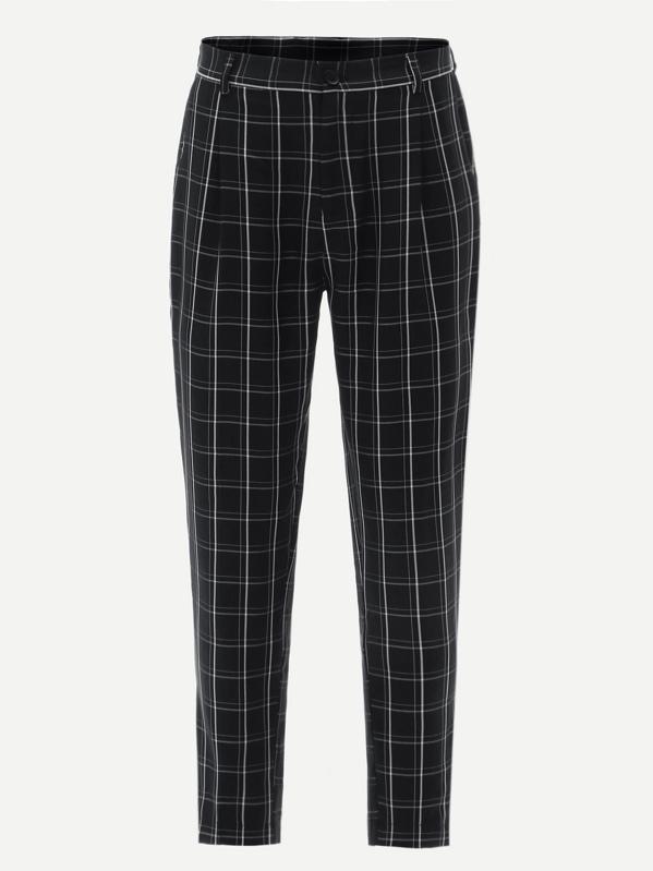81dfd68351 Men Grid Print Peg Leg Pants | SHEIN