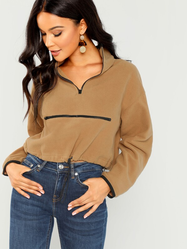 Half Placket Zipper Up Pullover by Shein