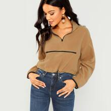 Half Placket Zipper Up Pullover