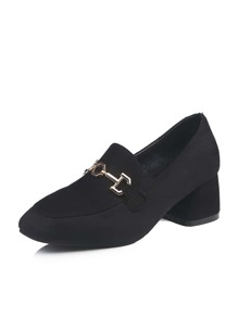 Metal Decor Suede Loafers