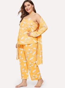 Plus Leaf Print Cami Pajama Set With Robe