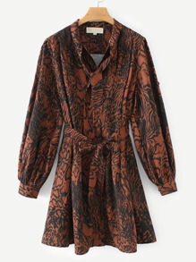Self Tie Snakeskin Print Shirt Dress