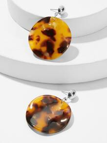 Tortoiseshell Pattern Round Drop Earrings 1pair