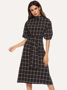Windowpane Check Belted Dress