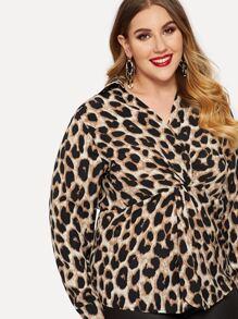009395f65810ec Plus Twist Front Cheetah Print Blouse | SHEIN UK