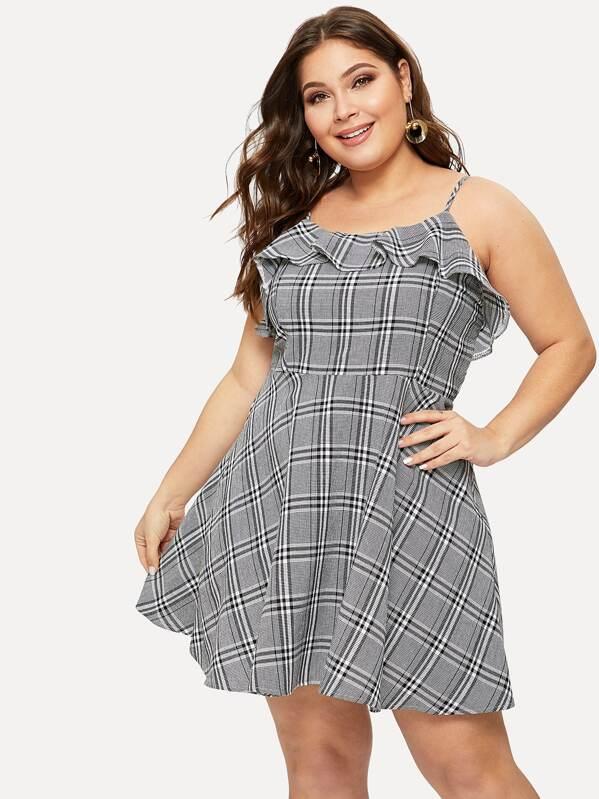 521910b922 Cheap Plus Ruffle Plaid Cami Dress for sale Australia | SHEIN