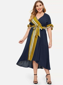 Plus Knot Cuff Contrast Striped Dress
