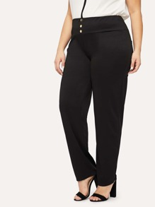 0c0f7b89006e Plus Button Front Solid Pants | SHEIN