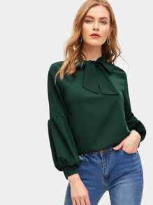 Bishop Sleeve Tie Neck Blouse