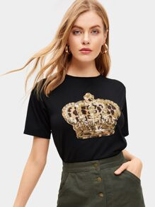 Contrast Sequin And Leopard Tee