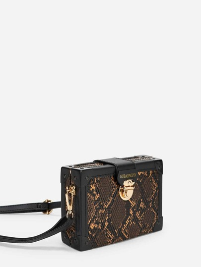 Snakeskin Pattern Push Lock Box Bag