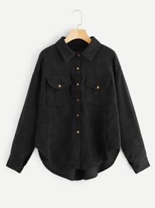 Curved Hem Double Pocket Corduroy Coat