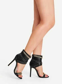 Metal Chain Decor Studded Zip Back Pumps