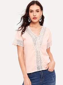 Contrast Lace Drop Shoulder Blouse