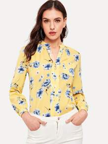 Floral Print Button Decoration Blouse
