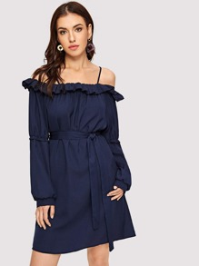 Cold Shoulder Belted Ruffle Dress