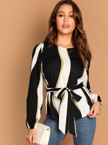 Self Belted Striped Blouse