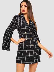 Double Breasted Split Sleeve Grid Dress