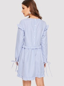 Knot Cuff Frill Detail Pinstripe Dress