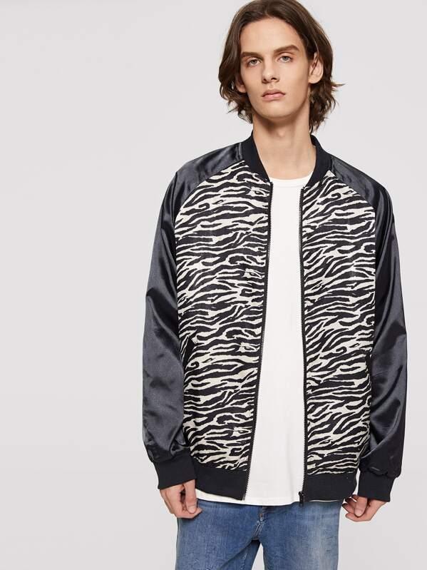 bbc5f50820 Men Zip Up Raglan Sleeve Animal Print Jacket   SHEIN