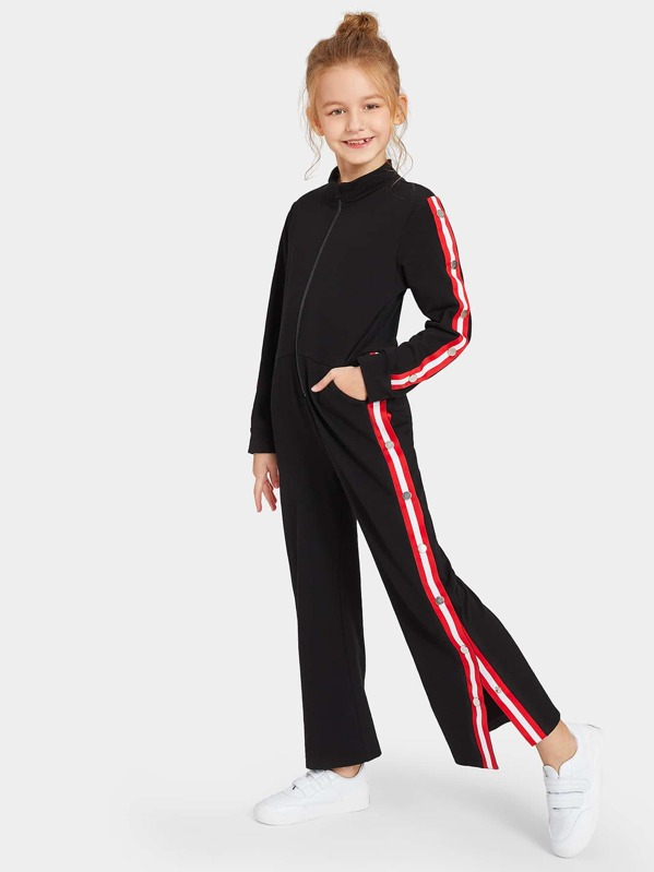 403115acb58 Girls Zip Front Buttoned Striped Side Track Jumpsuit