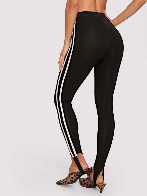 4abc12474af85a Stripe Side Stirrup Leggings | SHEIN UK