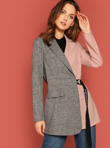 Two Tone D-Ring Belted Blazer