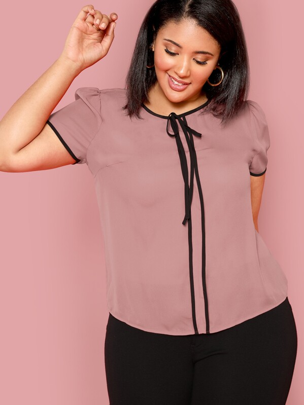 Plus Knot Neck Contrast Binding Top by Shein