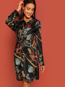 Chain Print Twist Front Shirt Dress