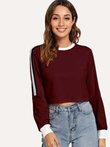 Side Tape Crop Pullover