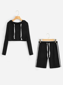 Striped Crop Hooded Tee & Legging Shorts Active Suit