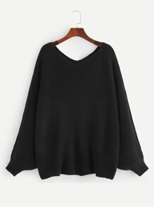 Plus Double V Neck Batwing Sleeve Solid Sweater