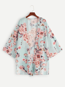 Plus Floral Print Asymmetrical Hem Coat