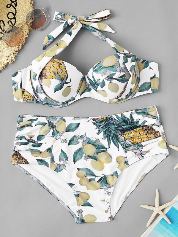 88eab891c63a Bikini de cintura alta fruncido con estampado de fruta al azar-grande