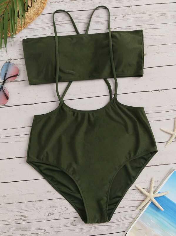 b64c6e69d6329 Plus Bandeau With High Waist Suspender Bikini Set | SHEIN
