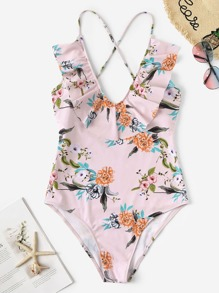 Plus Random Floral Criss Cross One Piece Swim