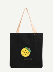 Fruit Print Canvas Tote Bag
