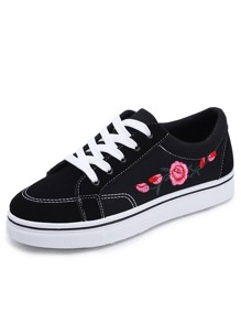 Floral Embroidered Lace-up Sneakers