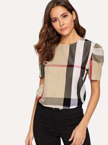 Plaid High Low Hem Blouse