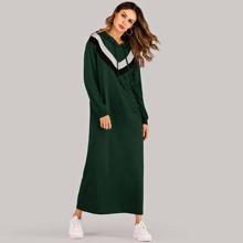 Image of Cut And Sew Panel Hooded Sweatshirt Dress