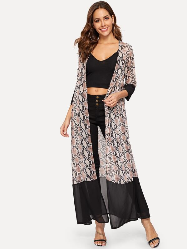 4c934042e Snakeskin Print Longline Chiffon Kimono   SHEIN UK