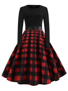 50s Ribbon Tie Plaid Flare Dress