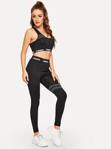 Contrast Letter Taped Gym Bra With Pants
