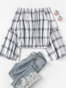 Off Shoulder Flounce Sleeve Plaid Blouse