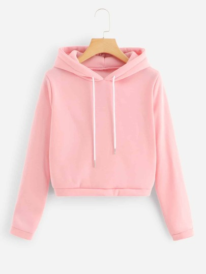 Drawstring Solid Hooded Sweatshirt