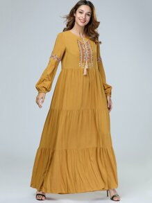Tie Neck Embroidered Bishop Sleeve Longline Dress