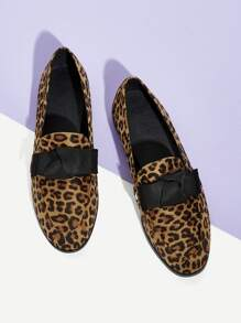 Leopard Pattern knot Decor Loafers