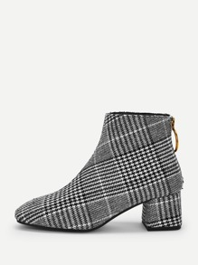 Plaid Pattern Ring Decor Boots