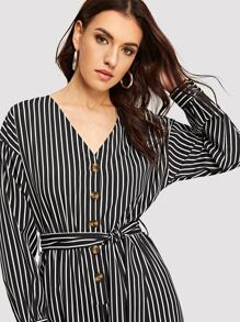 20adb1824a0 Button Front Self Belted Striped Jumpsuit