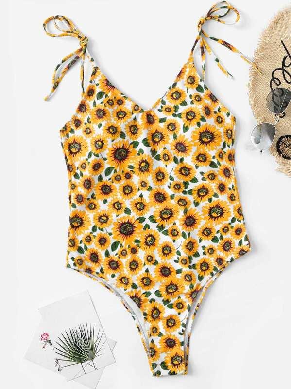 14ae7395dd Random Self Tie Shoulder Sunflower One Piece Swimsuit | SHEIN